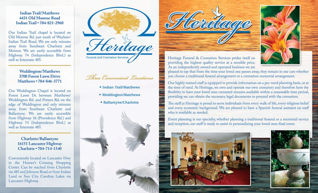 Heritage Funeral brochure (outside)